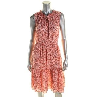 Rebecca Taylor Womens Provence Block Casual Dress Silk Tie Neck - 6