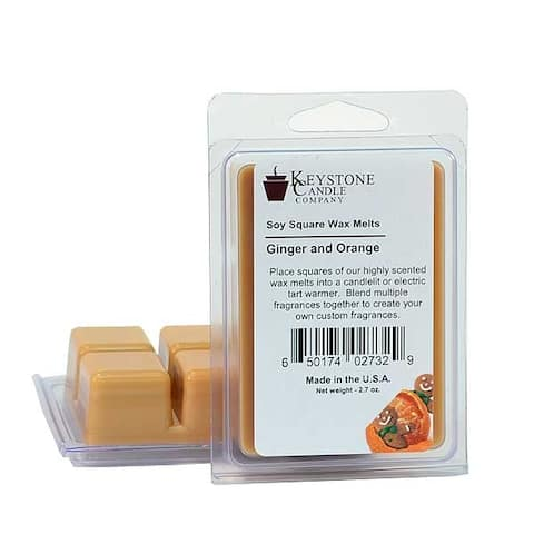 Ginger and Orange Soy Tarts 3.5 in. long x 2.5 in. wide x 1 in. thick Pack of 3 - Ginger and Orange