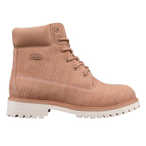 """Lugz Convoy Croc Lace Up Womens Boots Ankle Low Heel 1-2"""" - Pink"""