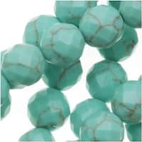 Green Turquoise Faceted Round Gemstone Beads 6mm - 15.5 Inch Strand