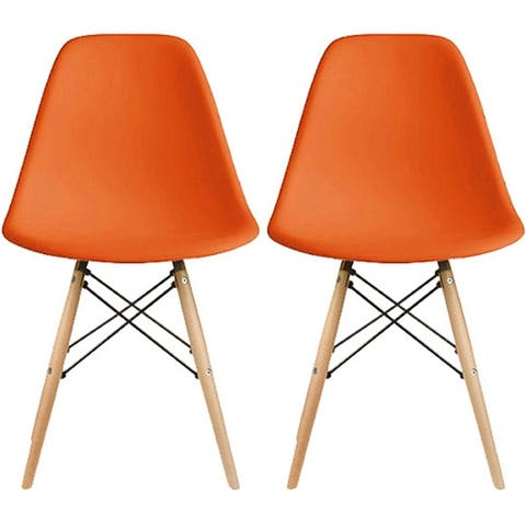 2xhome Set of 2 Designer Plastic Eiffel Chairs Solid Wood Legs Retro Dining Molded Shell Hotel Dowel For Kitchen Bedroom Work