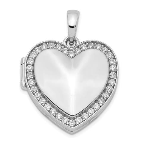 Sterling Silver Cubic Zirconia 23mm Heart Locket with 18-inch Cable Chain By Versil