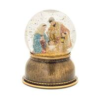 Set of 2 Copper and Blue Lighted Religious Inspirational Nativity Plastic Snow Globe 6.5""