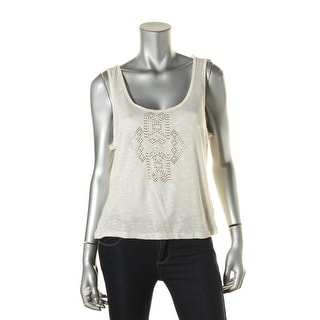 BCX Womens Juniors Slub Rhinestone Casual Top - L