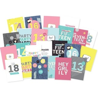 Kaisercraft Kaiser Style Greeting Cards W/Envelopes Bulk-Teenage Dream Box Of 72; 24 Designs/3Ea