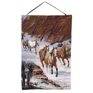 """Horses Running Through Canyon Wall Hanging Tapestry 17"""" x 26"""""""