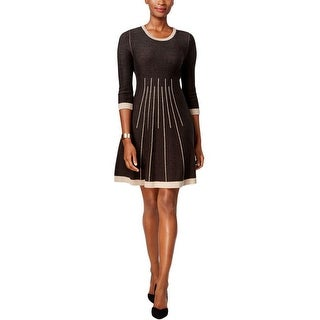 Jessica Howard Petite Seamed Fit Flare Sweater Dress - pm