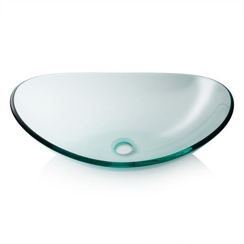 Modern Glass Vessel Sink - Counter Bathroom Vanity - Oval Boat Clear