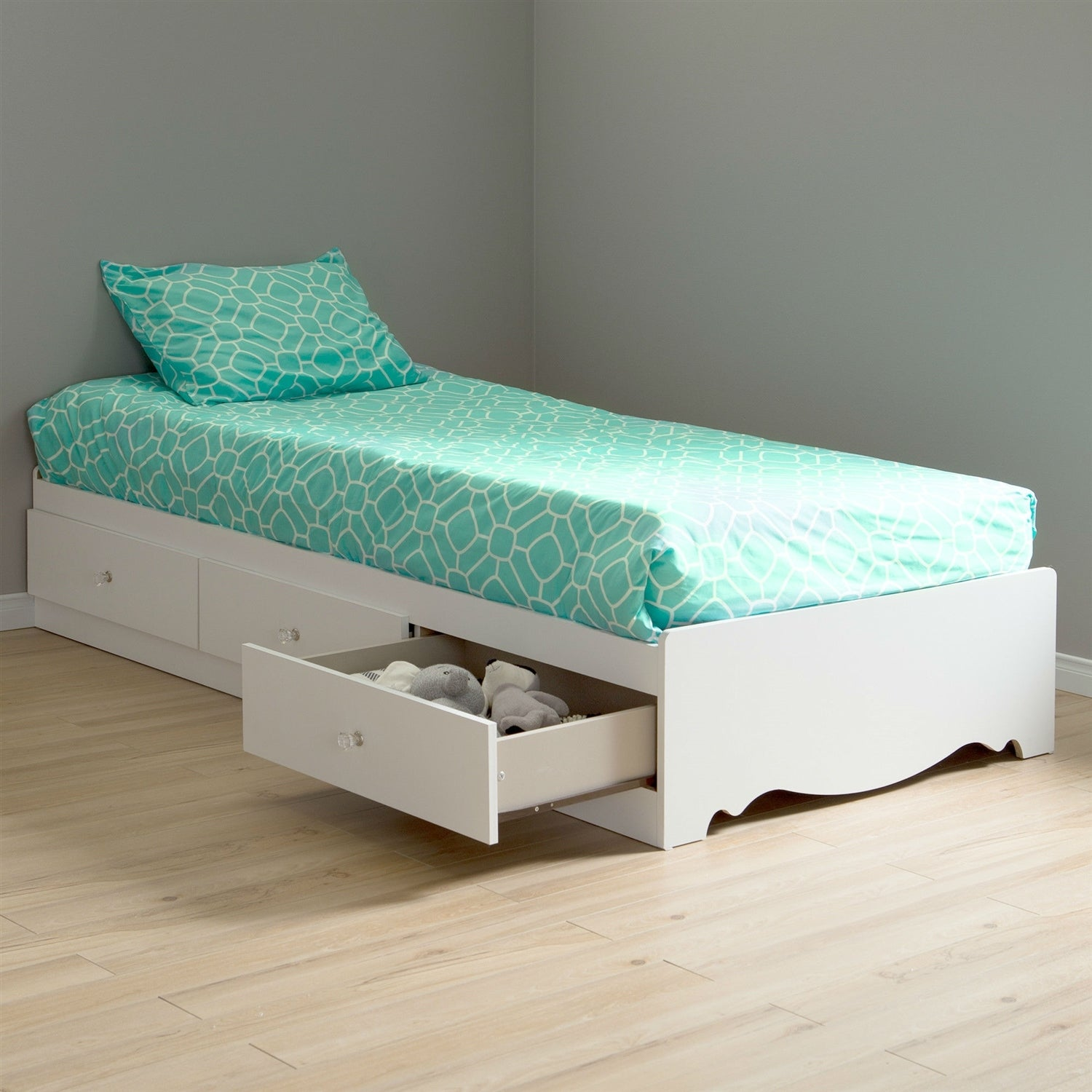 Twin Size White Wood Platform Day Bed With Storage Drawers Pictured Overstock 29083975