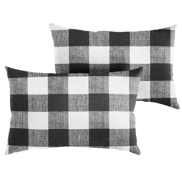 Humble Haute Black Buffalo Plaid Indoor Outdoor Lumbar Pillow Set Of 2 Overstock 21033830