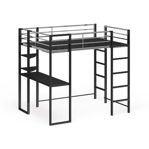 Furniture of America Boor Modern Black Metal Loft Bed with Workstation