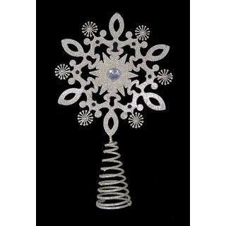 """12"""" Gold Glitter Snowflake Gem Christmas Tree Topper - Unlit"""