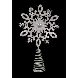 12 gold glitter snowflake gem christmas tree topper unlit