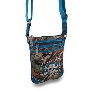 Camo Print Cross Body Bag w/Mock Croc Trim and Skull/Crossbones Accent - Blue