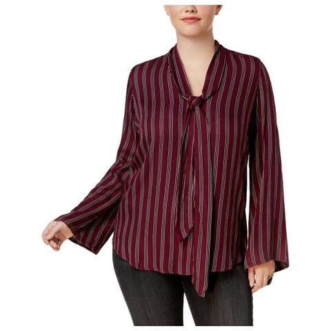 Seven7 Womens Plus Tunic Top Flare Sleeves Striped