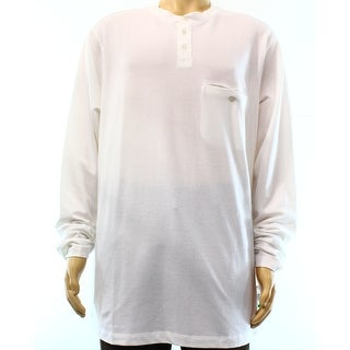 ALFANI NEW Bright White Mens Size LT Big Tall Long Sleeve Henley Shirt