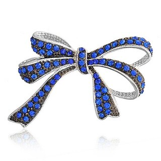 Bling Jewelry Blue Imitation Sapphire Crystal Bow Brooch Rhodium Plated