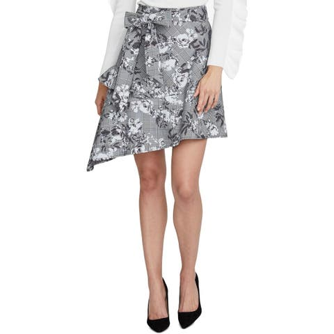 Rachel Rachel Roy Womens Bailen Asymmetrical Skirt Floral Plaid