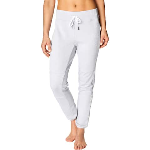 Betsey Johnson Performance Womens Sweatpants Jogger Embroidered - Stone Grey - L