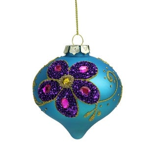 "3.25"" Matte Turquoise Blue Glass Onion Shaped Finial Christmas Ornament with Purple Flower Designs"
