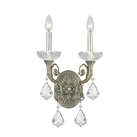 Majestic 2 Light Clear Crystal Brass Sconce - 10'' W x 15'' H x 6.5'' D