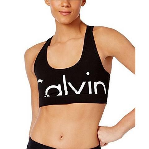 8332e2388 Calvin Klein Performance Women s Black Logo Racerback Low-Impact Sports Bra  ...
