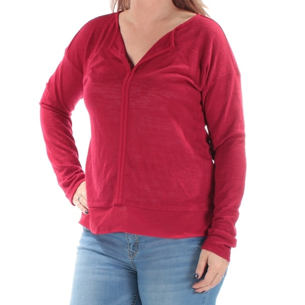 SANCTUARY Womens Red Long Sleeve V Neck Top Size: XL