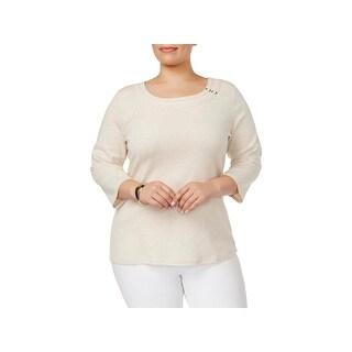 Karen Scott Womens Plus Blouse Embellished Long Sleeves
