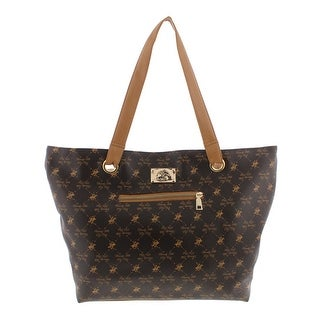 Beverly Hills Polo Club Womens Tote Handbag Printed Faux Leather - Extra  large