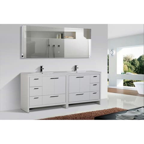 Alma-Allier Free Standing 84-inch Double Sink Vanity with Integrated Sink