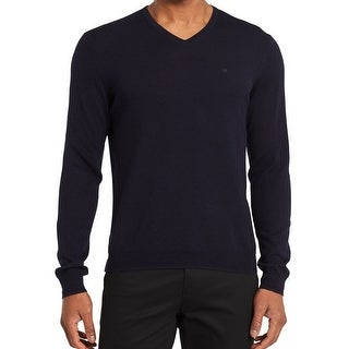 Calvin Klein NEW Roma Blue Mens Size Large L V-Neck Wool Sweater