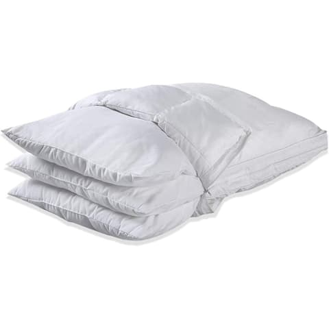 New Zealand Wool Quilted 3in1 Adjustable Pillow Organic Cotton Cover Baffle Box Construction, Sleep Pillow - White