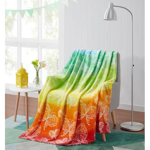Asher Home Rainbow Bliss Plush Throw Blanket