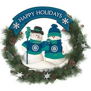 Seattle Mariners 20 Team Snowman Wreath