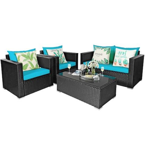 Gymax 4PCS Rattan Patio Conversation Set Outdoor Furniture Set w/ - See details