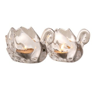 Crystal Swan Tea Light Candle Holders - Set Of Two