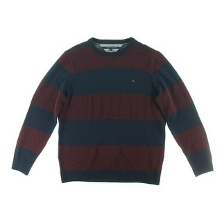 Tommy Hilfiger Mens Striped Crew Neck Pullover Sweater - L
