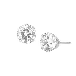 6.5 mm White Cubic Zirconia Studs in 14K White Gold