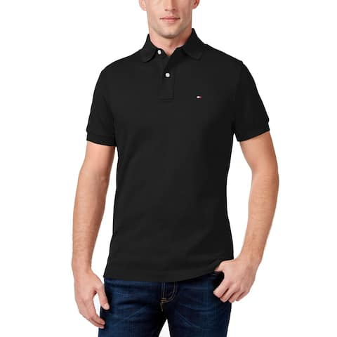 Tommy Hilfiger Mens Shirt Black Size 3XLT Big Tall Collared Polo