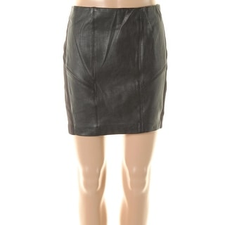 Zara W&B Collection Womens Pull On Faux Leather Trim Mini Skirt - L