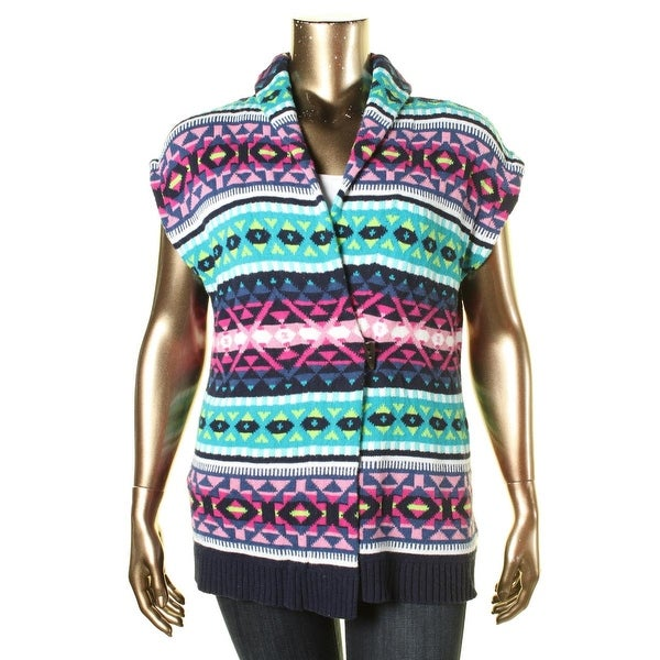 Shop American Living Womens Sweater Vest Fair Isle Open Front Free