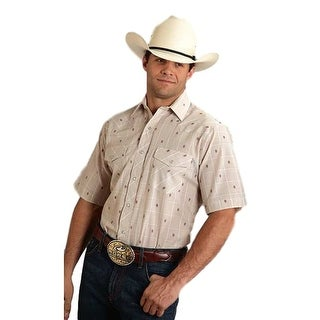 Roper Western Shirt Mens S/S Plaid Snap Beige