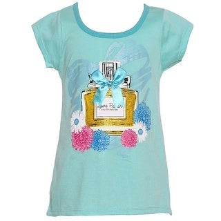 "Mini Moca Little Girls Aqua ""Love Potion"" Bow Accent Floral Print Top"