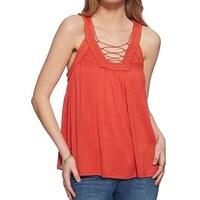 fac53a0436e Shop Jessica Simpson Paprika Women Plus Lace-Up Tank Top - On Sale ...