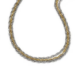 Chisel Stainless Steel Polished & Yellow IP-plated 1Layered Necklace (2 mm) - 17.5 in