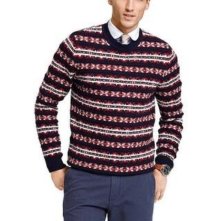 Tommy Hilfiger Mens Snowflake Crewneck Sweater XXL / 2XL Navy Red
