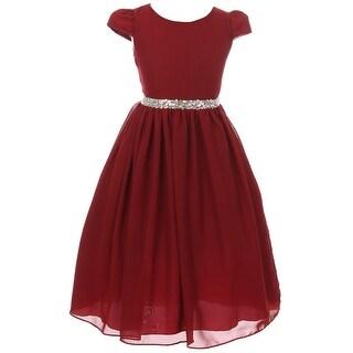 Short Sleeve Chiffon Flower Girl Dress Burgundy KK 6420