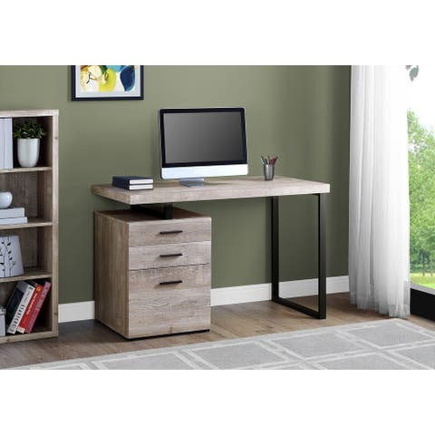 Monarch 7410 Taupe Reclaimed Wood Black Metal 48nch Computer Desk