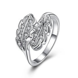 Classic Crystal Duo Leaf Branch Petite Ring