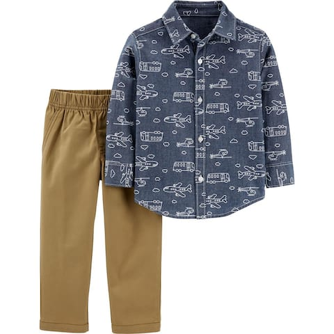 Carters Boys 2T-4T Chambray Woven Pant Set - Blue